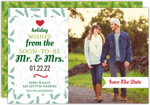 Whimsical Holly Leaves Holiday Save The Date Announcement