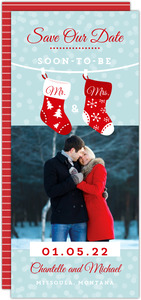 Whimsical Stockings Holiday Save The Date Announcement