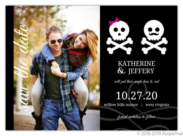 Boy And Girl Whimsical Skulls Halloween Save The Date Announcement