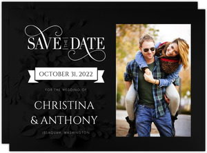 Seamless Black Floral Halloween Save The Date Card