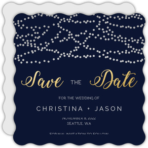 Silver Hanging Lights Save the Date