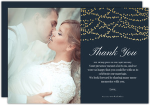 Gold Dangling Lights Thank You Card