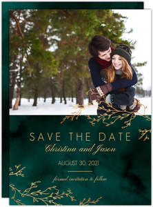 Floral Tan Stripes Wedding  Save the Date