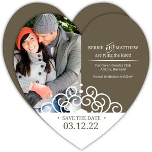 Olive and White Intricate Frame  Save The Date