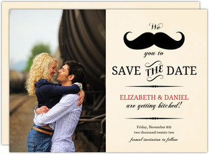 Vintage Mustache  Save the Date Card