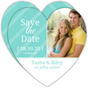 Turquoise and White Stripes Save The Date