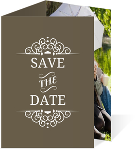 Olive and White Intricate Frame  Save the Date Card