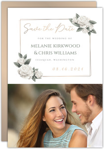 Elegant White Roses Save the Date Card