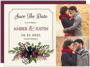 Burgundy & Black Floral Save the Date Card