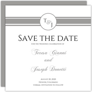 Classic White with Gray Stripe  Save the Date Card