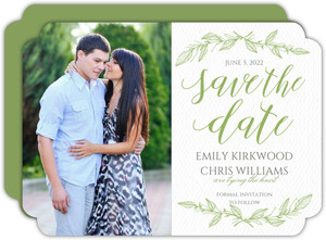 Green Spring Pattern Wedding Save The Date Card