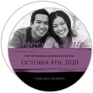 Black and Purple Painted  Save the Date Announcement