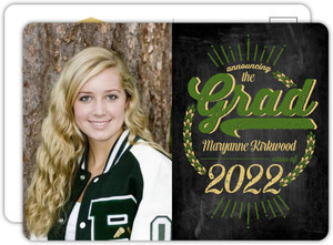Rustic Green Chalkboard Graduation Announcement