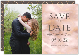 Elegant Blush and Gold Marble Save the Date