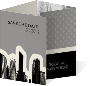 Black White and Gray City Skyline  Save the Date