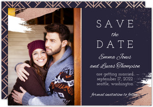 Faux Rose Gold Modern Brushstroke Save the Date Card