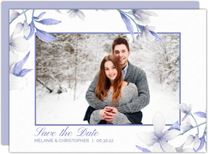 White Lilies Purple Leaves Save The Date