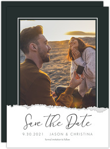 Edgy Ripped Paper Save The Date
