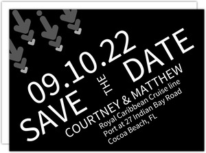 Bold Black and White Arrows Save the Date Card