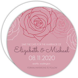 Pink and White Rose Blossoms  Save the Date Announcement