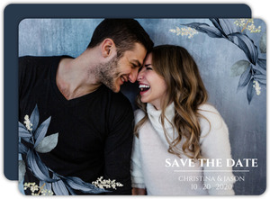 Geometric Frame Navy Leaves Save the Date