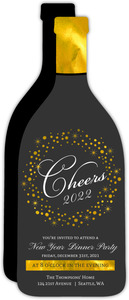 Faux Gold Foil Champagne Bottle New Year Party Invitation