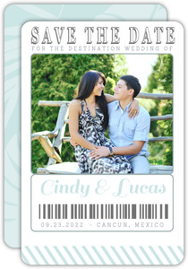 Tropical Destination Boarding Pass Save the Date Card