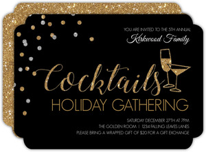 Elegant Cocktails Holiday Party Invitation
