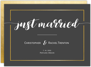 Charcoal and Faux Gold Sophisticated Wedding Announcement