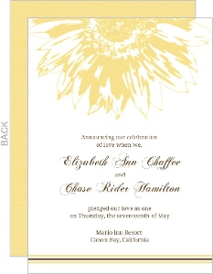 Simple Sunflower Brown And Yellow Wedding Announcement
