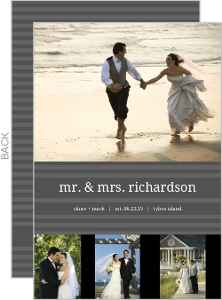 Simple Gray Stripe Accent Wedding Announcement