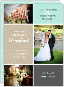 Aqua and Champagne Grid Wedding Announcement