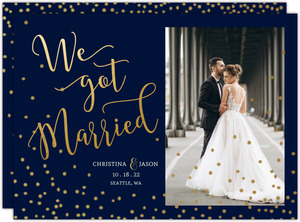 Faux Foil Twlight Stars Wedding Announcement