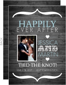 Rustic Wood Grain and Blue Wedding Announcement