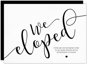 We Eloped Black and White Wedding Announcement
