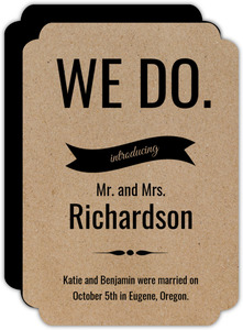 Simple Kraft We Do Wedding Announcement
