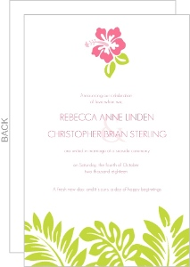 Tropical Palm Leaves And Hibiscus Wedding Announcement
