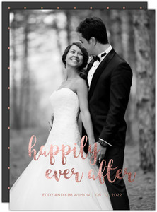 Faux Rose Gold Happily Ever After Wedding Announcement