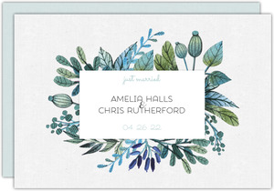 Watercolor Foliage Frame Wedding Announcement