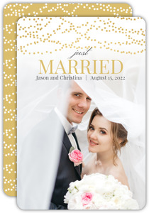 Gold Dangling Lights Wedding Announcement