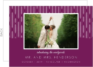 Purple and White Willows Wedding Announcement