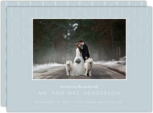 Simple Blue Grey Pattern Wedding Announcement