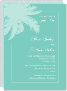 Seaside Blue and White Wedding Announcement