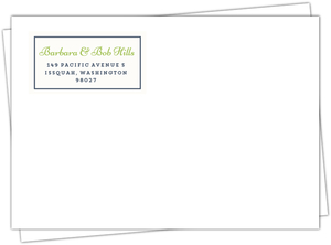 Navy and Green Return Address Envelope