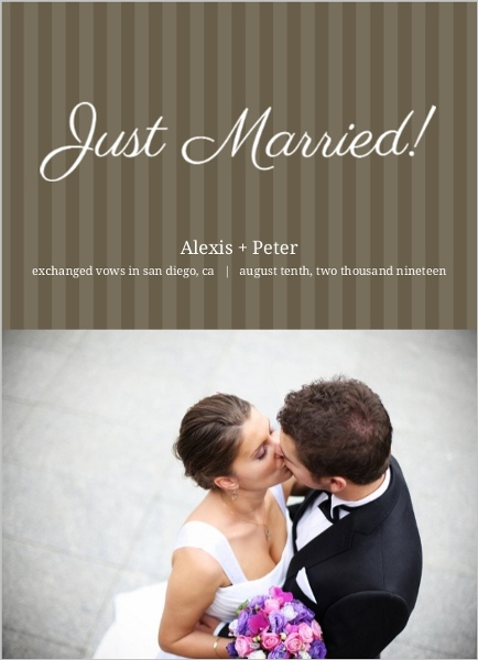 Brown and White Stripes Wedding Announcement
