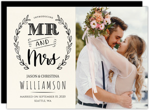 Chalk Laurel Mr And Mrs Wedding Announcement