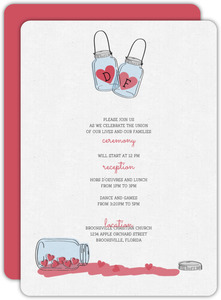 Romantic and Rustic Love Jar Wedding Reception Card