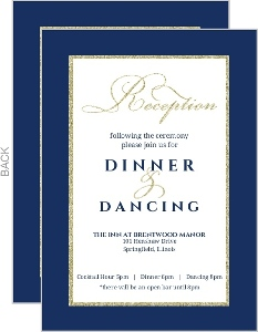Navy And Gold Glitter Formal Enclosure Card