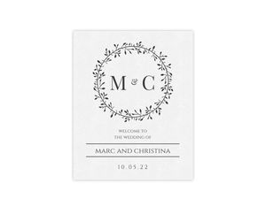 Skinny Wreath Initials Wedding Welcome Poster