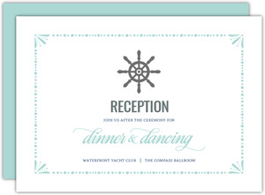 Nautical Mint and Gray Wedding Enclosure Card